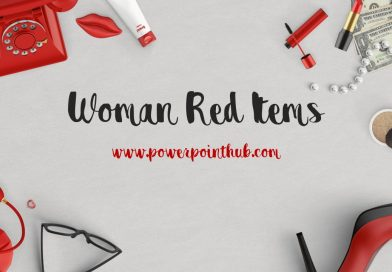 ฟรีเทมเพลต อุปกรณ์สำหรับผู้หญิง | Free Powerpoint Template – Red Woman Items