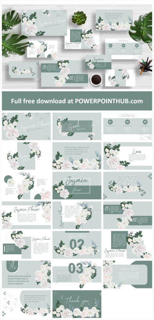 ฟรี PowerPoint Template ธีมดอกไม้  ดอกมะลิ  วันแม่