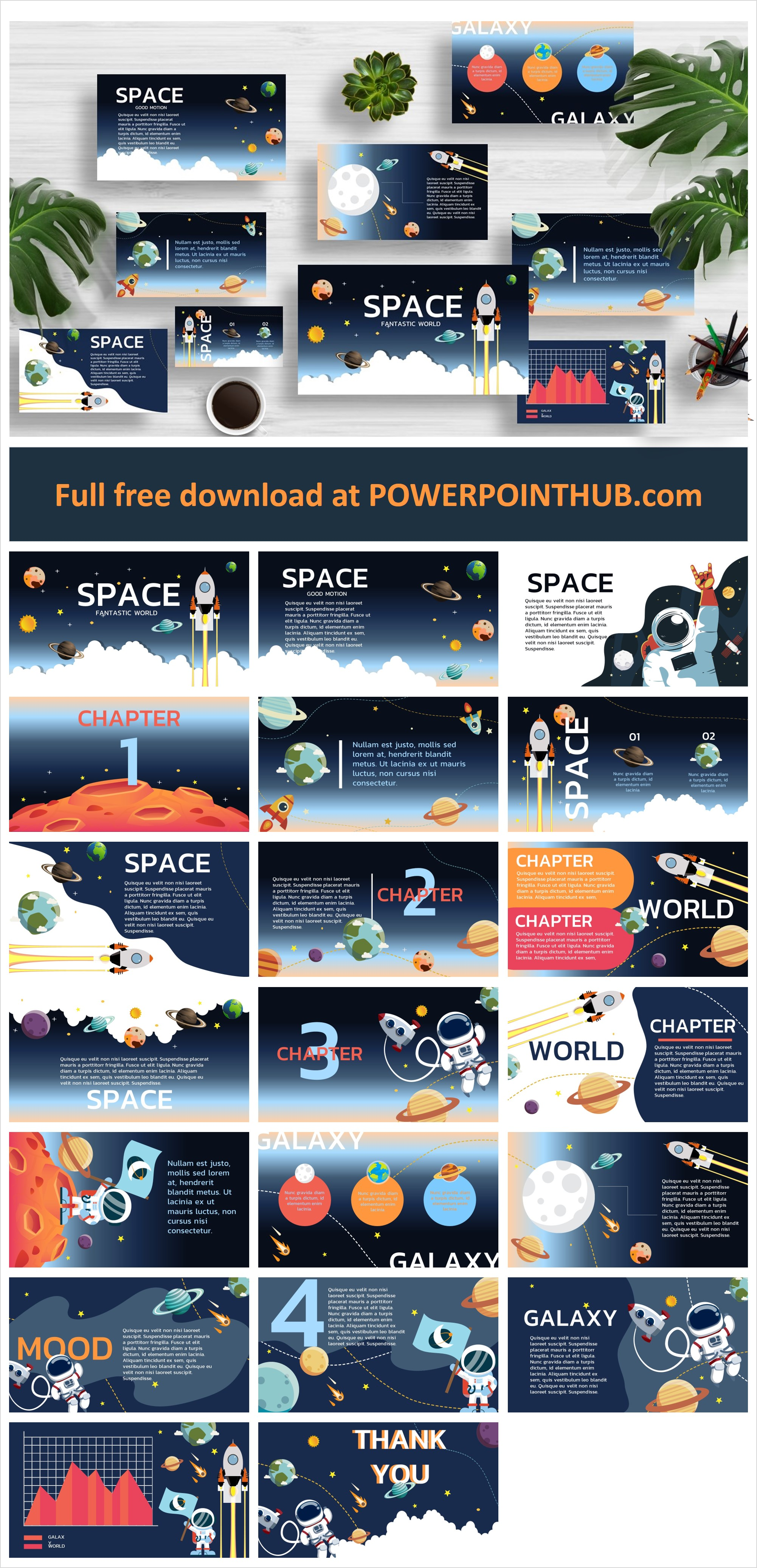 Free Space powerpoint template. Illustrated with start , astronaut , planets use for talk about astronomy , the universe , space , Nasa ect. Download Now.