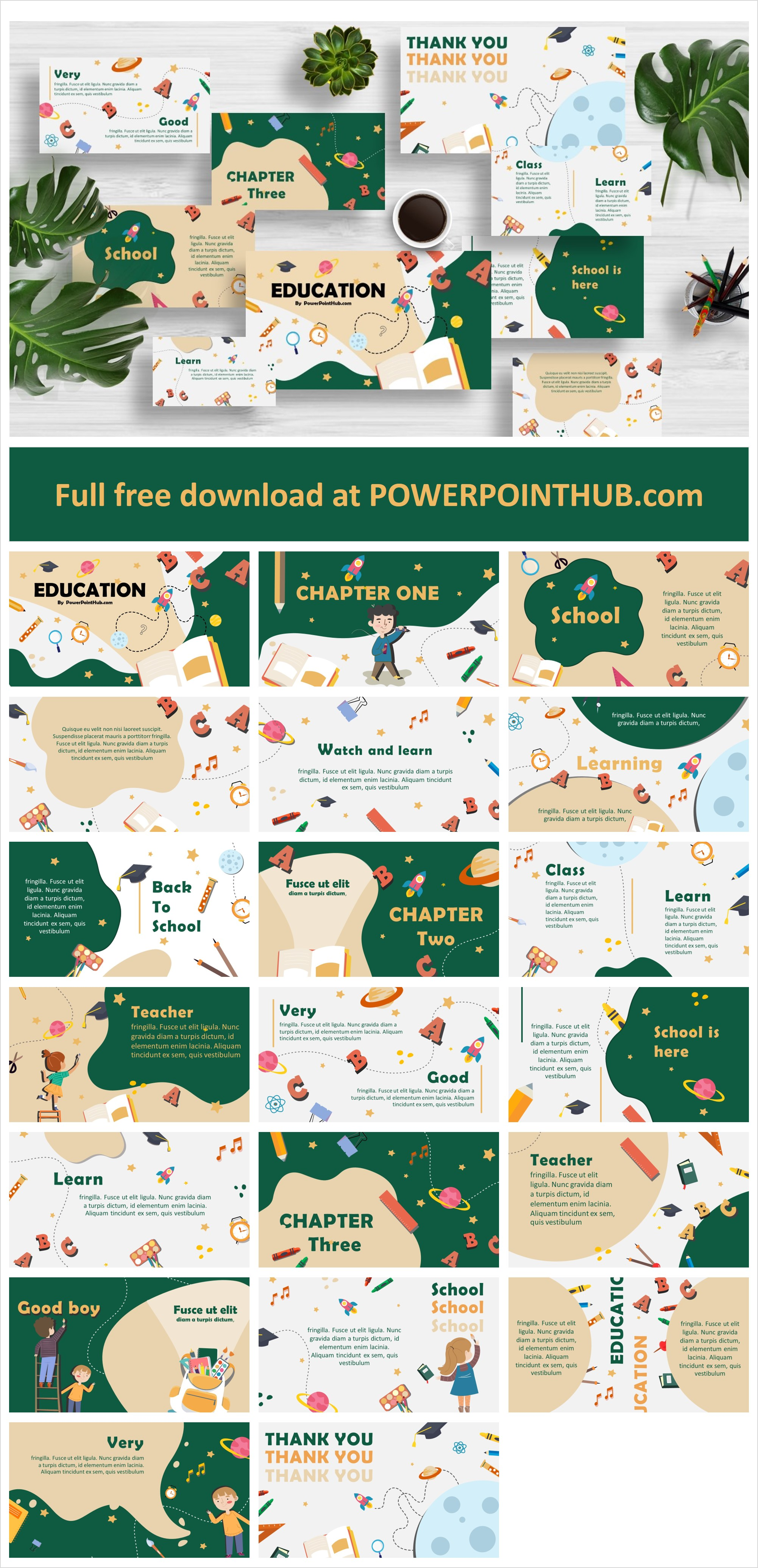 Free Download Best Education PowerPoint Template with cute cartoon objects. This template very useful for both teachers and students.