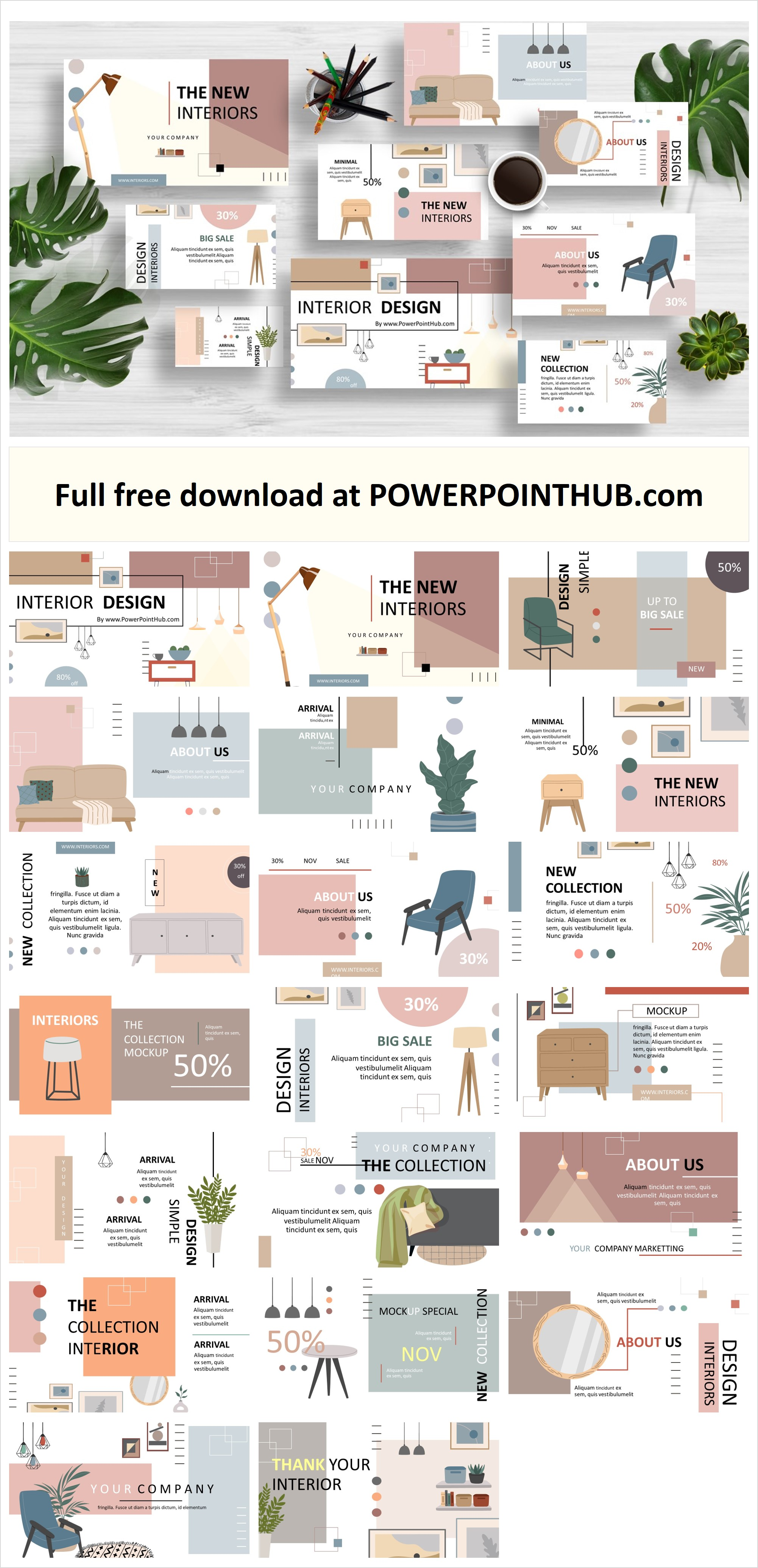 Free download interior Design PowerPoint Template including contemporary and modern home.  Create the next awesome presentation using this.