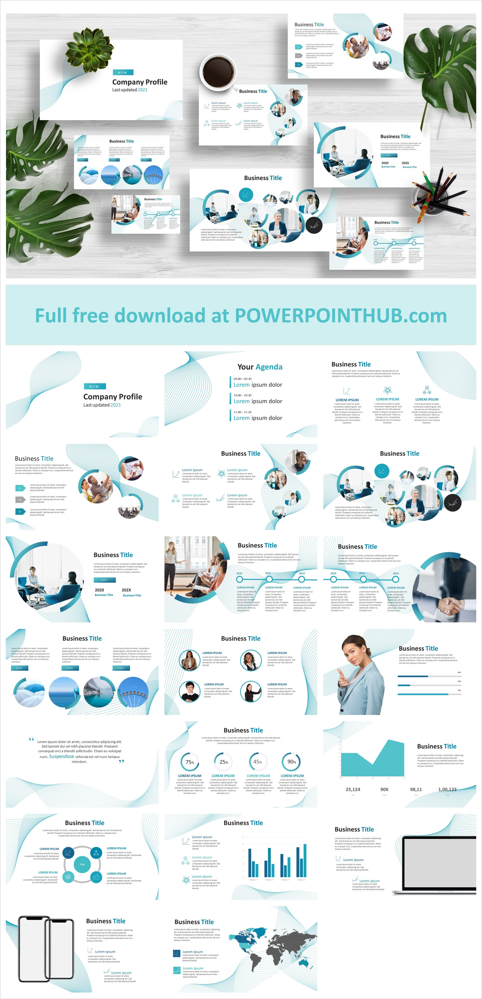 Free minimal blue business profile PowerPoint template. The elegant and minimalist design is noticeable. Don't wait , Download now.