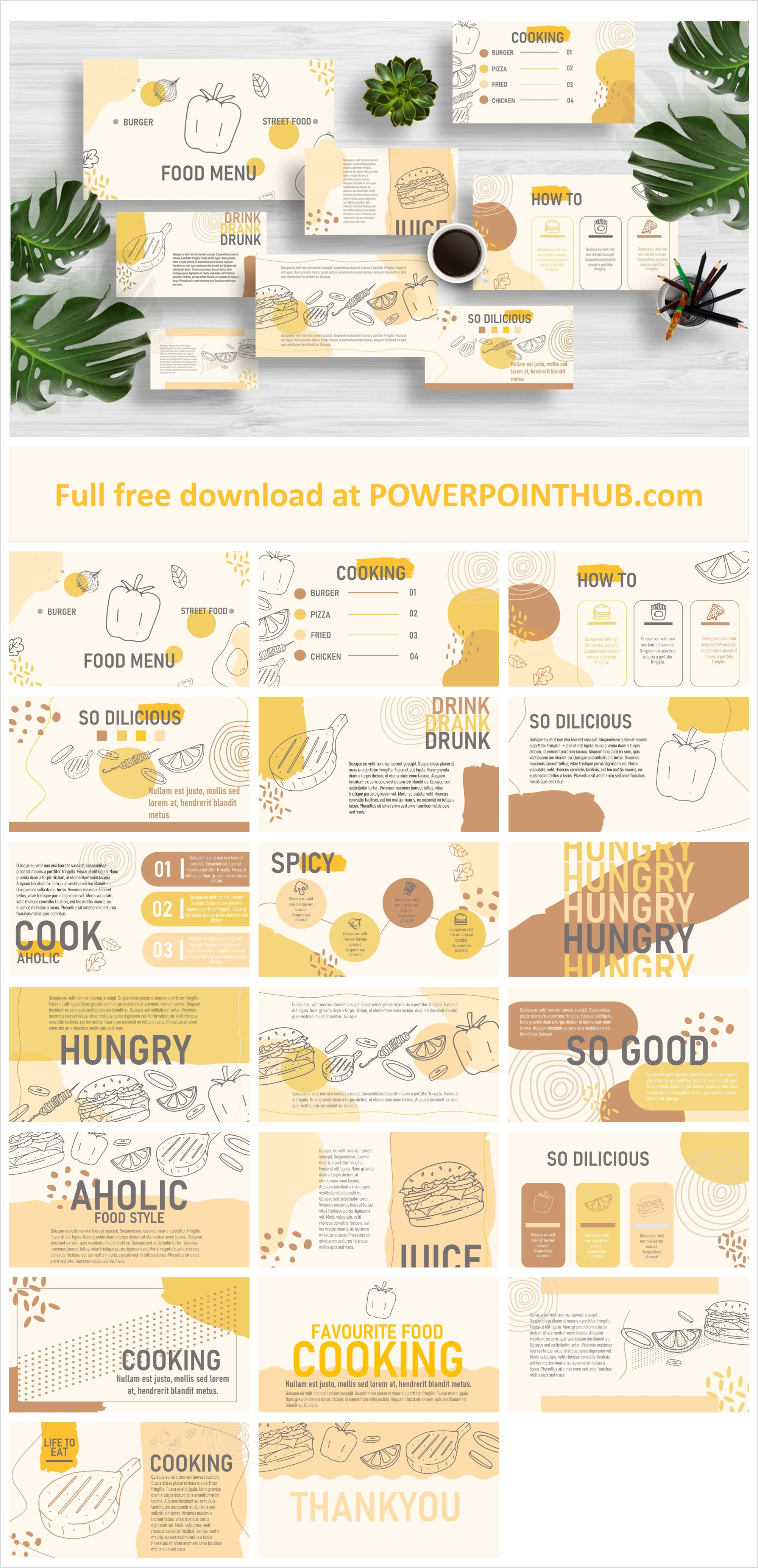 Free powerpoint template related to food , drink and cooking. Use these Food Menu for your best presentation.