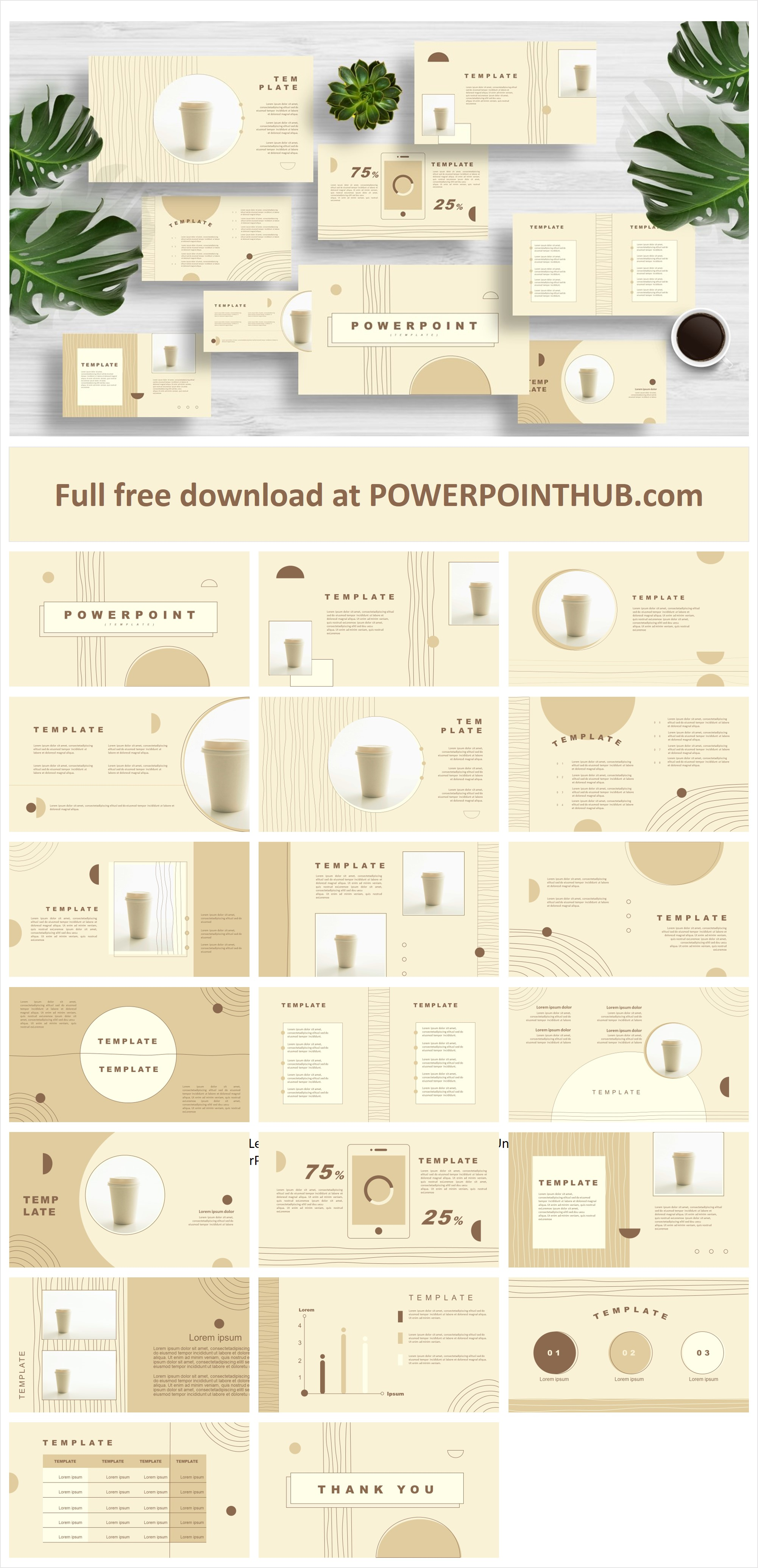 Brown Minimal - Free PowerPoint Template with yellow and brown colors. This is multipurpose purpose presentation that helps you impress your audience.