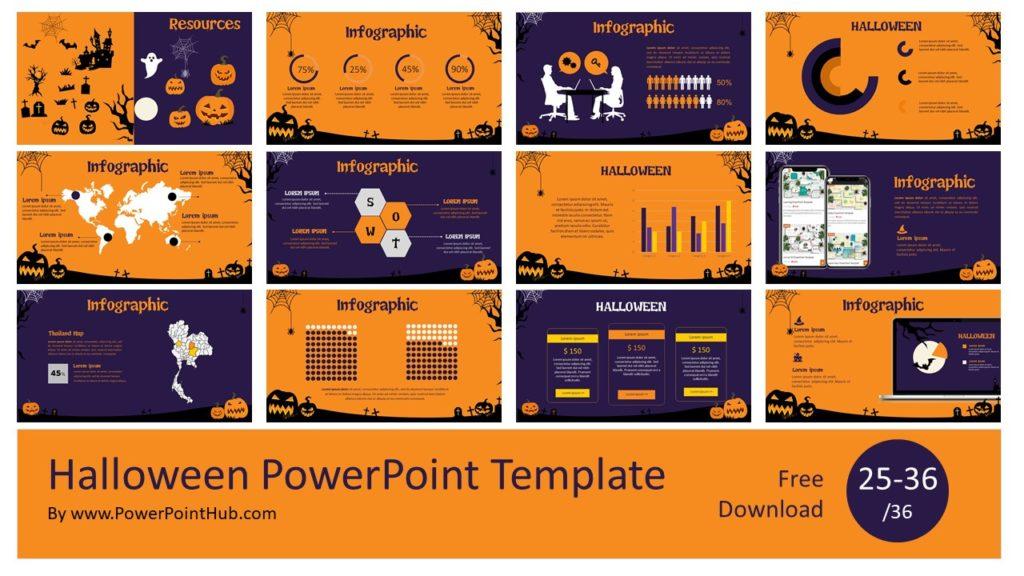 Halloween PowerPoint Template ฟรีเทมเพลยพาวเวอร์พอยธีมฮาโลวีน